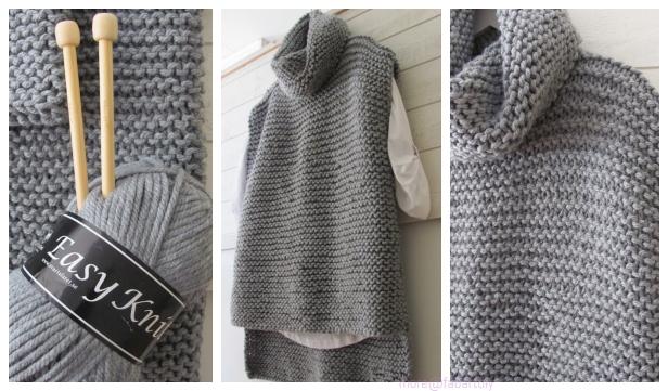 Easy Knit Women Sweater Vest Free Knitting Pattern