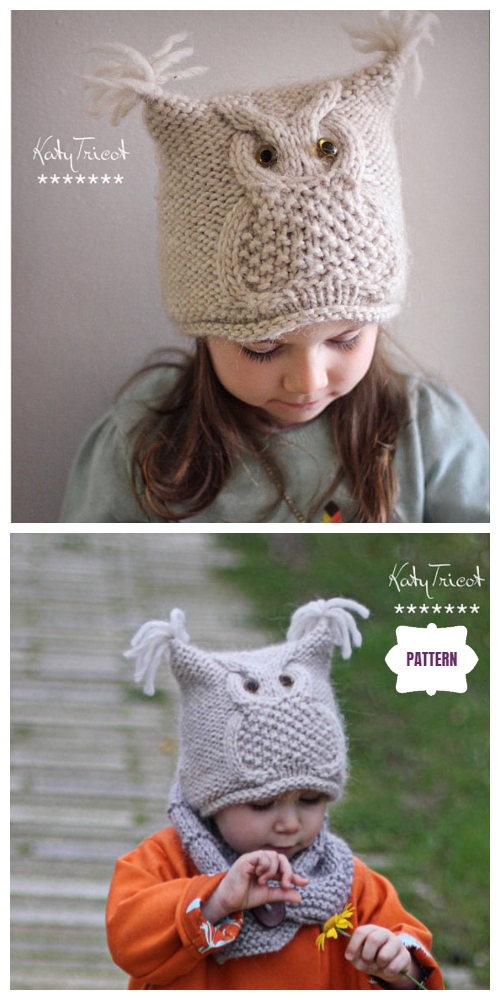 "Kids Owl Hat Knitting Patterns Free & Paid - Owl Hat Knitting Pattern ""Chouette"""