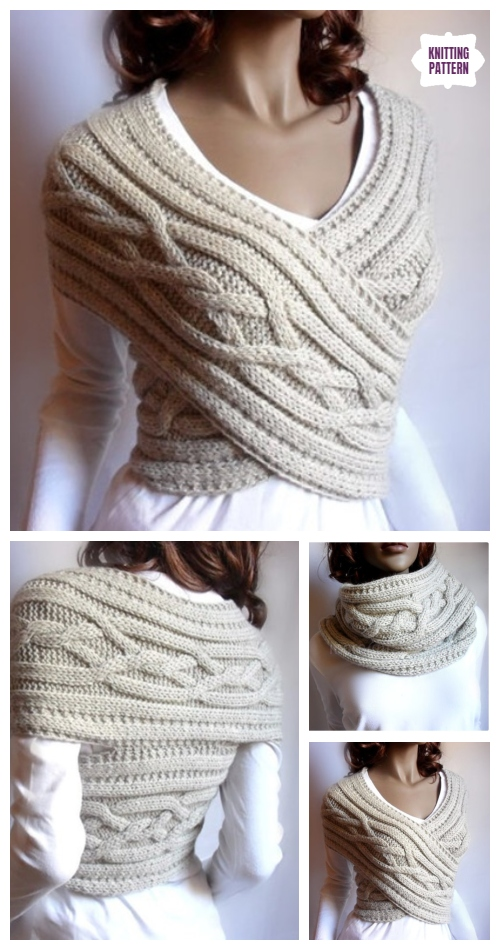 Knit Woman Cable Sweater Cowl Vest Knitting Pattern