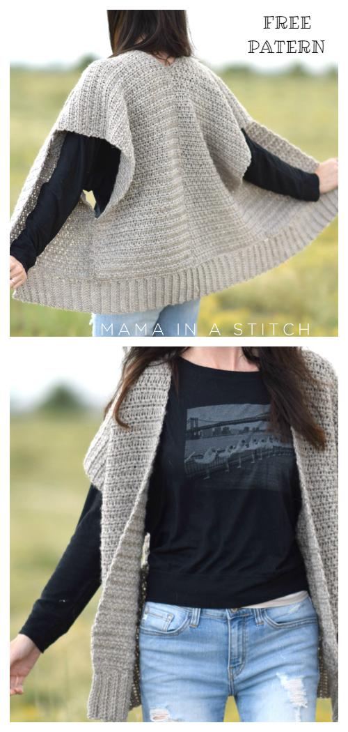 Women Fall Everyday Kimono Sweater Cardigan Free Crochet Patterns