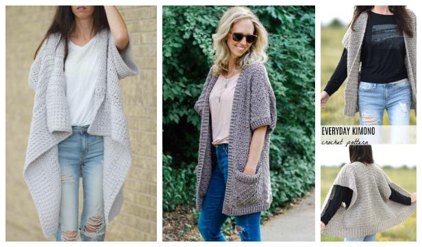 Women Fall Kimono Sweater Cardigan Free Crochet Patterns