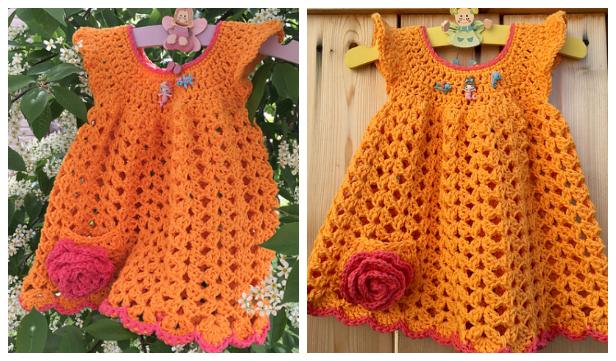 Crochet Angel Wing Baby Dress Free Crochet Pattern