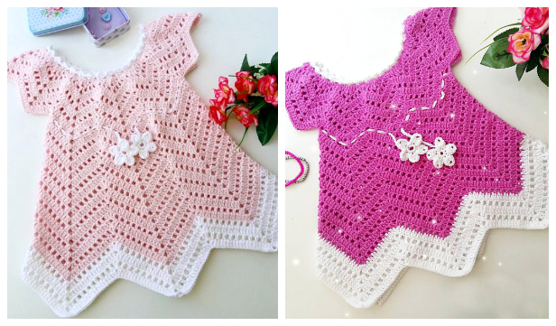 Crochet Girl's Chevron Dress Free Patterns with video-Crochet Owl Applique Pattern