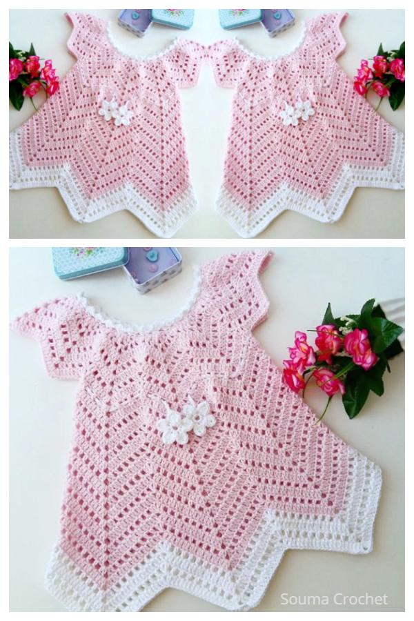 Baby Blossom Chevron Summer Dress Free Crochet Patterns