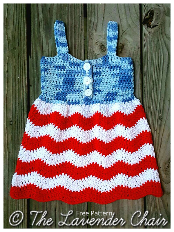 Red White and Blue Jean Dress Free Crochet Patterns