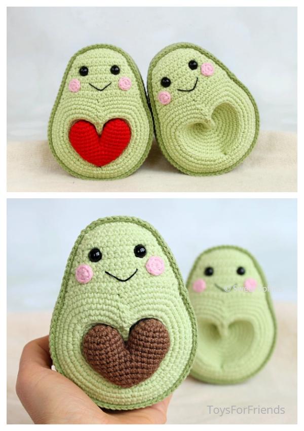 Crochet Avocados in Love Amigurumi Pattern