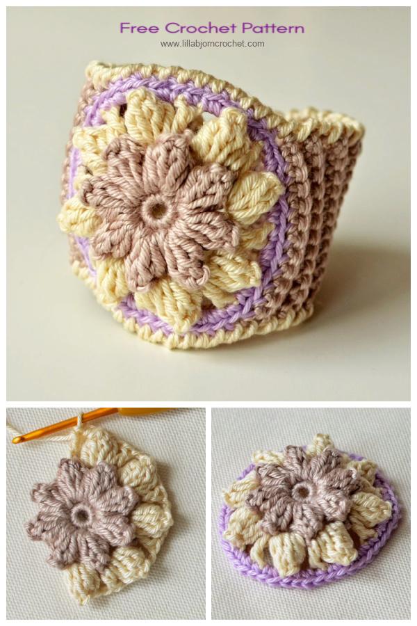 Popcorn Flower Bracelet Free Crochet Patterns