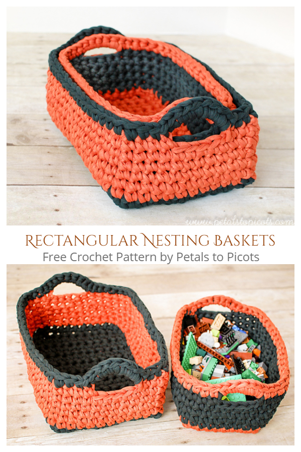 Rectangular Nesting Baskets Free Crochet Pattern