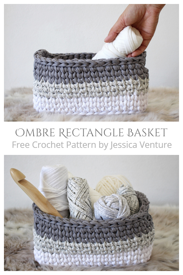 Crochet Ombre Rectangle Basket Free Crochet Pattern