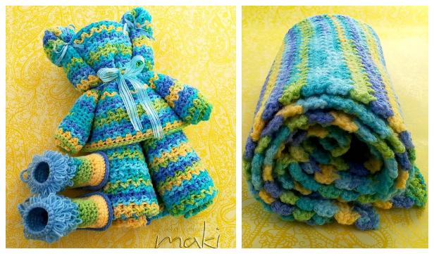 Ripple Baby Blanket Bear Free Crochet Patterns