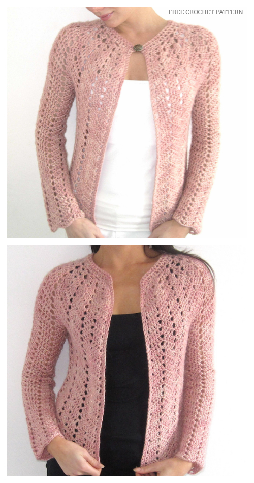 Chevron Lace Cardigan Free Crochet Patterns