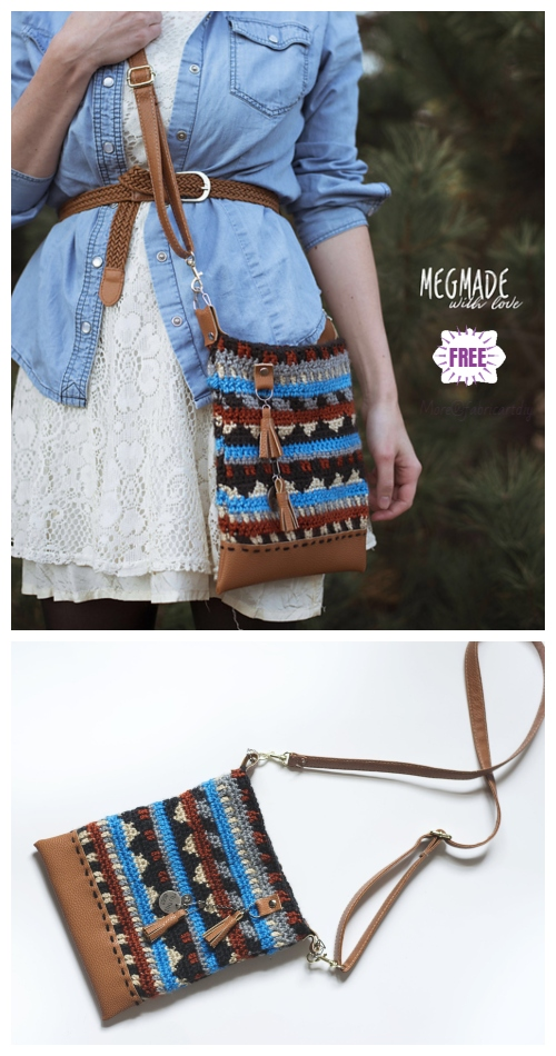 Crochet Boho Crossbody Bag Free Patterns-Crochet Aztec Boho Crossbody Purse Free Pattern