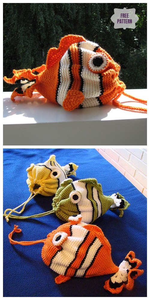 Crochet Drawstring Fish Bag Free Crochet Pattern
