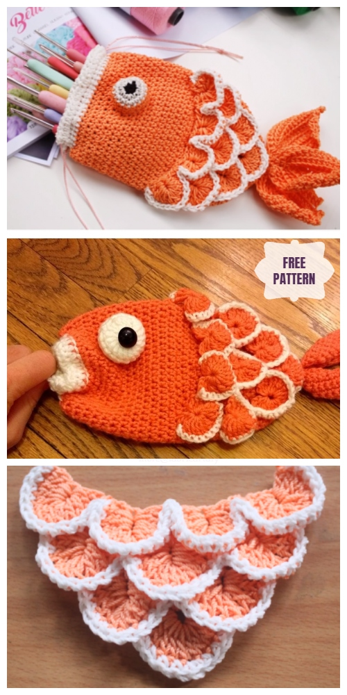 Crochet Fish Bag Free Patterns - DIY drawstring fish pouch Crochet Free Pattern Video Tutorial
