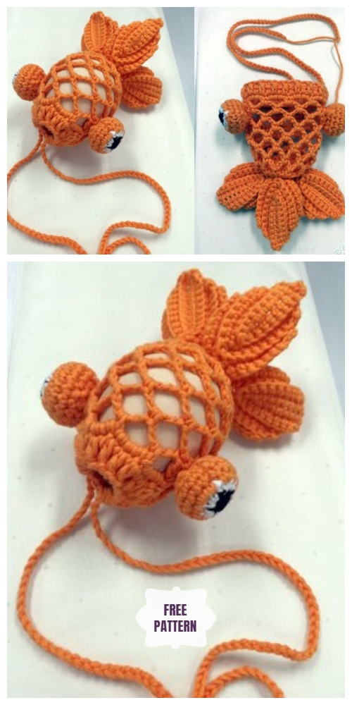 Crochet Little Gold Fish Easter Egg Bag Free Crochet Pattern
