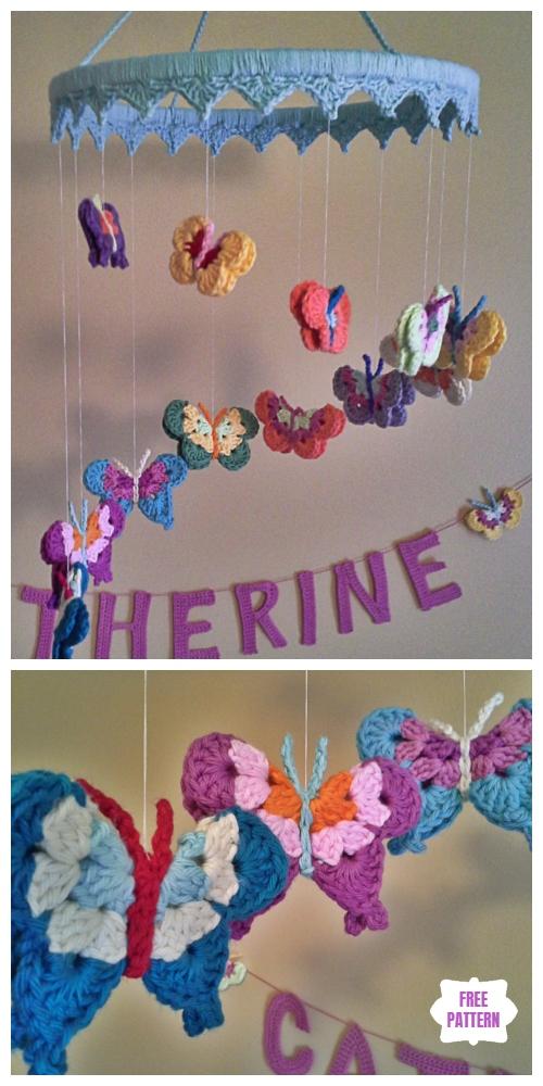 Crochet Flower& Butterfly Mobile Free Crochet Patterns