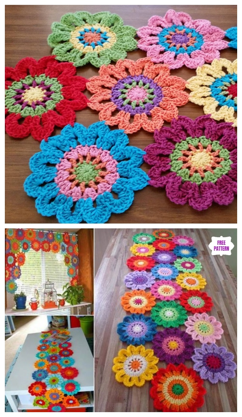Crochet Flower Valance Curtain Free Crochet Pattern - Video