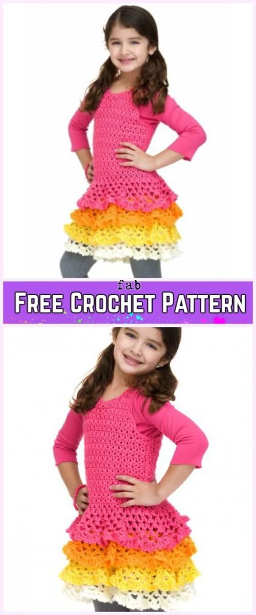 Crochet Girl Ruffle Dress Free Patterns-Crochet Easy Caron Rows o' Ruffles Dress Free Pattern