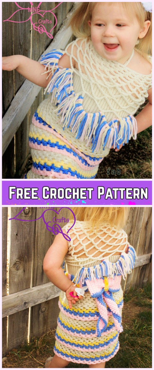 Crochet Girl Ruffle Dress Free Patterns-Crochet Holiday Ruffles Dress Free Pattern