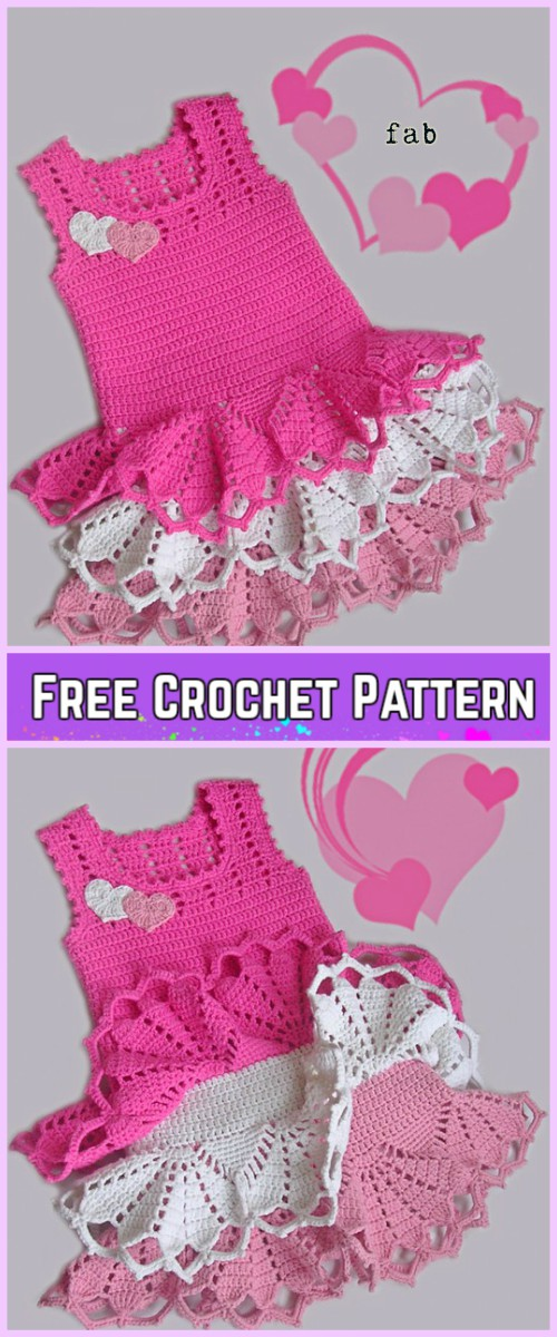 Crochet Girl Ruffle Dress Free Patterns
