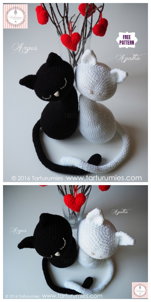 Crochet Valentine Cat Amigurumi Free Patterns