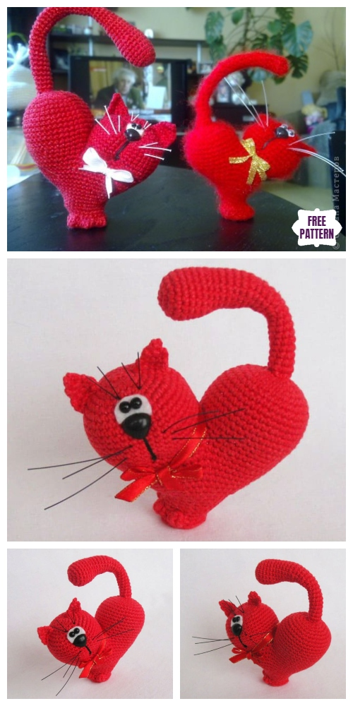 Crochet Valentine Cat Amigurumi Free Patterns - Valentine's Day Heart Cat Free Crochet Pattern