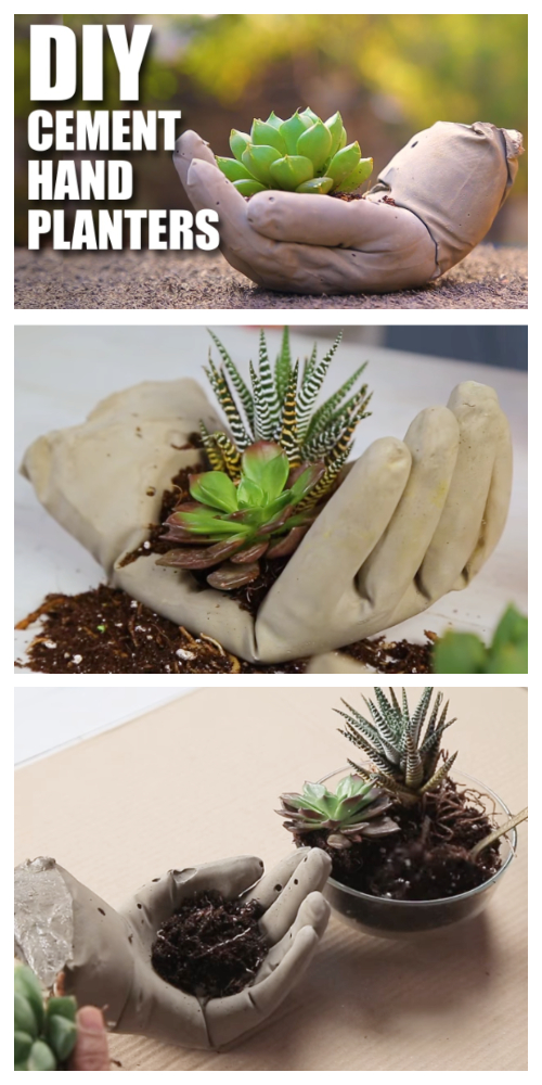 DIY Hand Cupped Concrete Garden Planter Tutorials + Video