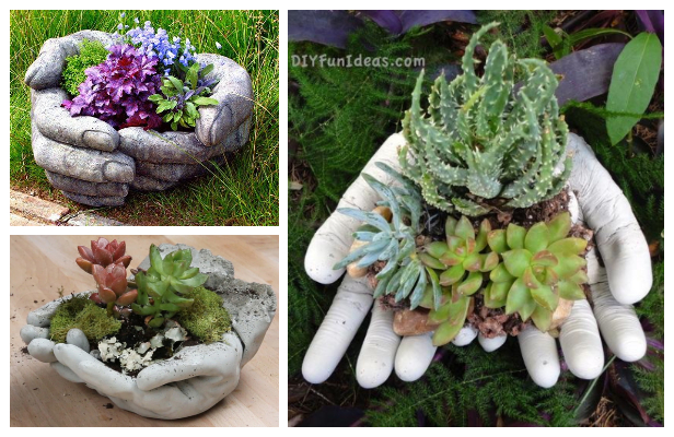 DIY Hand Cupped Concrete Garden Planter Tutorials