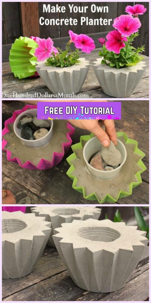 DIY Cute Concrete Planter Tutorial Using Plastic Molds-How to Make a Concrete Planter Tutorial