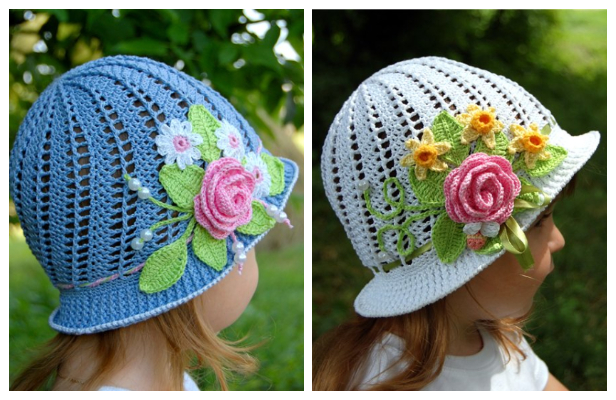 Girls Panama Spiral Sun Hat Free Crochet Pattern + Video