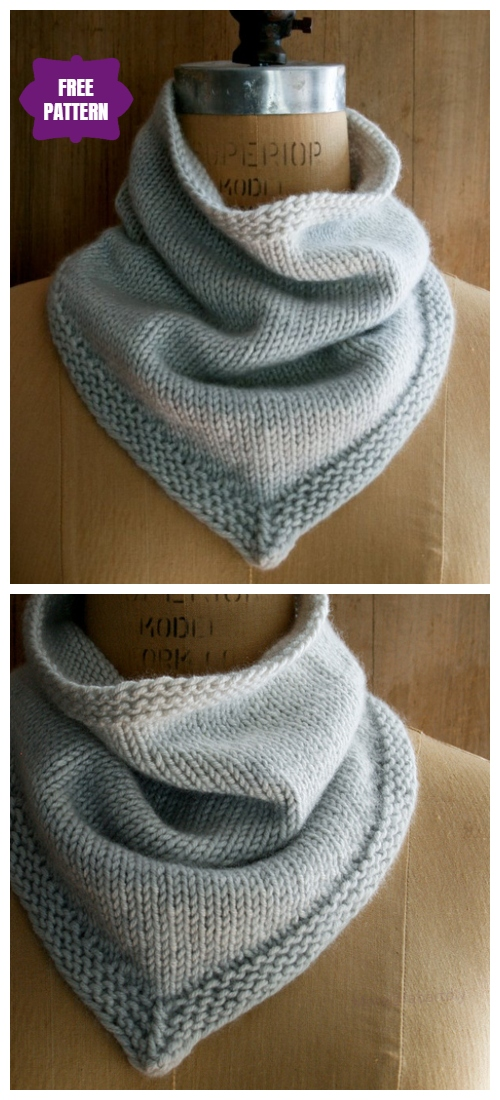 Knit Bandana Cowl Free Knitting Pattern
