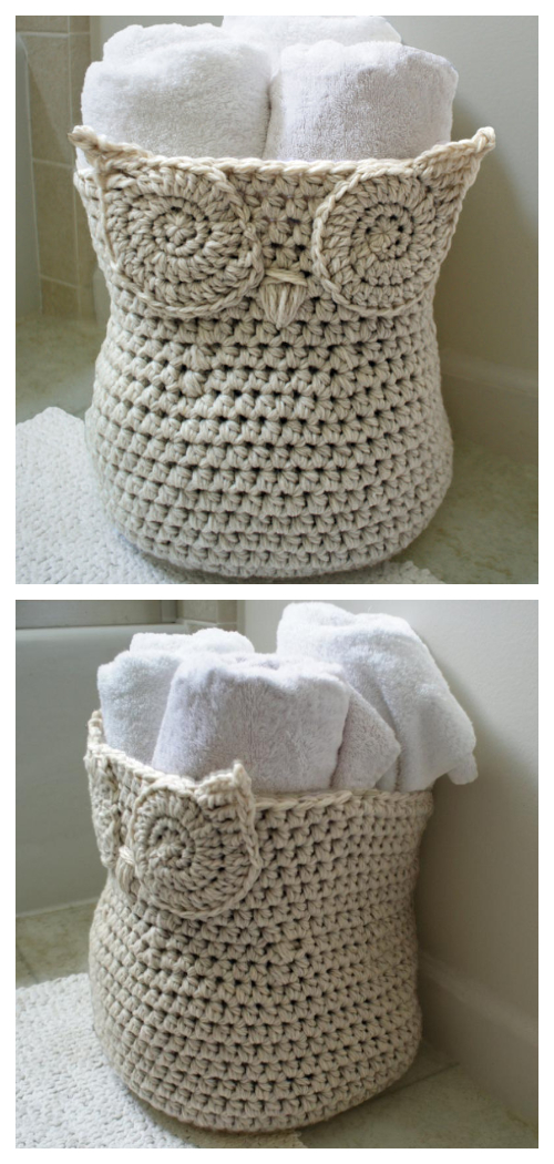Crochet Owl Basket as Planter with More Owl Projects