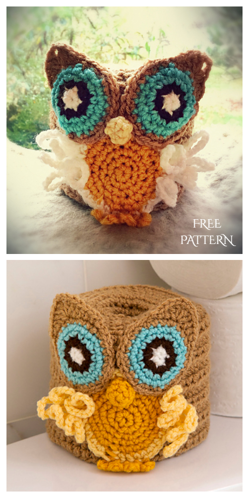 Crochet Owl Basket Free Patterns-Crochet Retro Owl Toilet Roll Cover Free Pattern