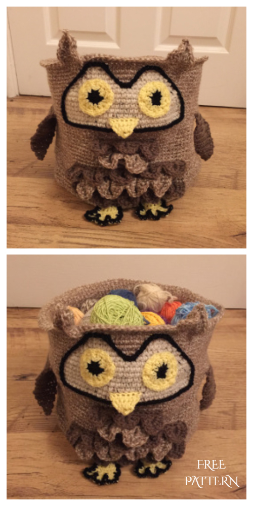 Crochet Owl storage Basket Free Pattern