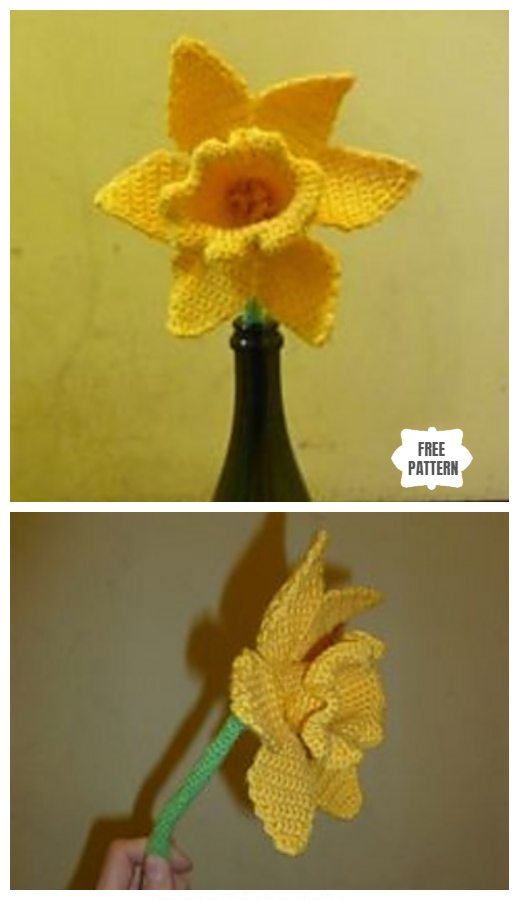 Spring Daffodil Flower Free Crochet Patterns - Crochet Daffodil Free Pattern by Jazmo Tennant
