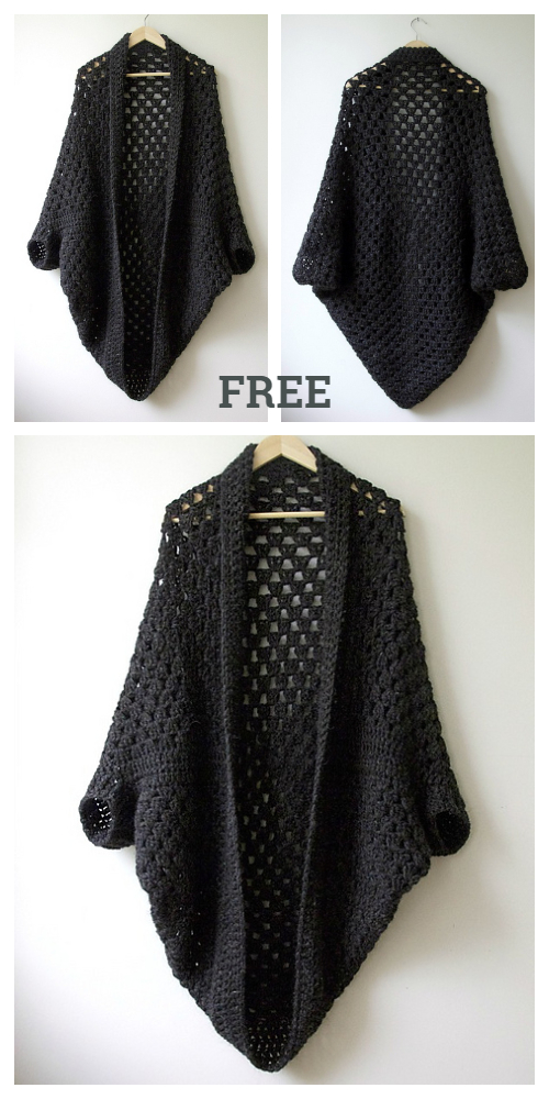 Crochet Granny Shrug Free Patterns for Ladies-Crochet Granny Cocoon Shrug Free Pattern
