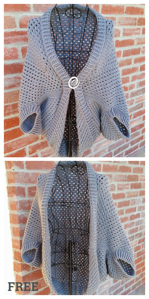 Crochet Simple Granny Shrug Sweater Free Pattern