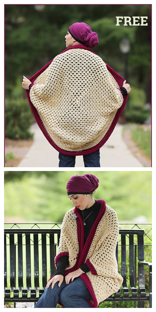 Crochet Granny Cocoon Shrug Free Pattern with Video tutorial