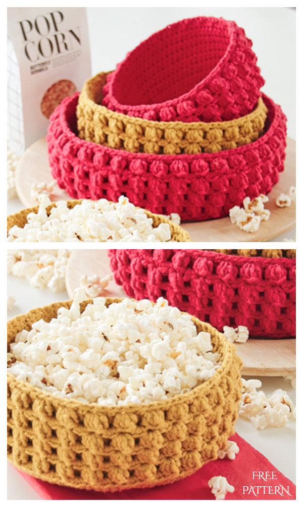 Christmas Crunch Bobble Stitch Basket Free Crochet Pattern