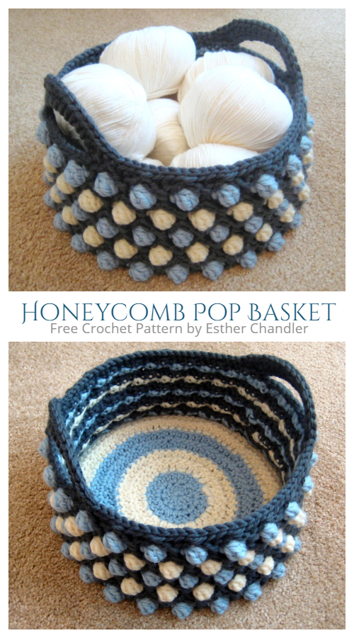 Honeycomb Pop Basket Free Crochet Pattern