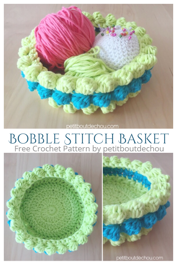 Bobble Stitch Basket Free Crochet Pattern