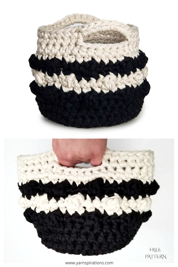 Bobble Stripe Basket Free Crochet Pattern