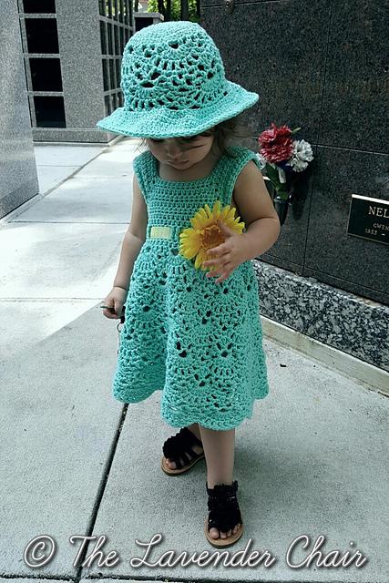 Vintage Toddler Dress&Hat Set Crochet Free Patterns