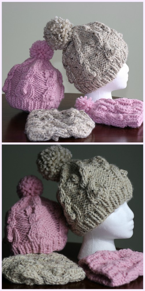 Cable Bunnies Hat Knitting Pattern