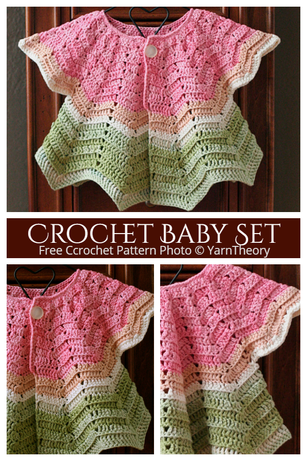 Chevron Baby Cardigan and Hat Set Free Crochet Pattern