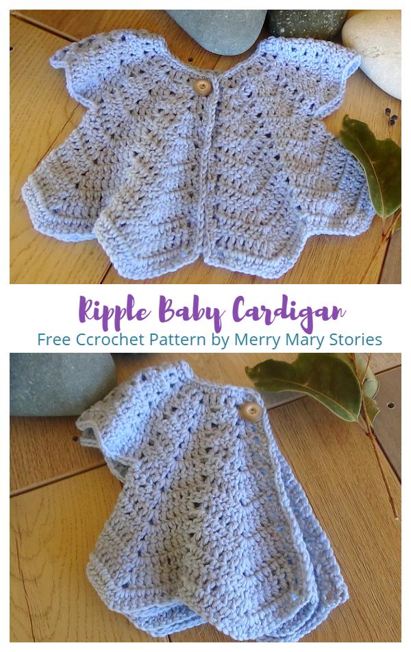 Ripple Baby Cardigan Free Crochet Pattern