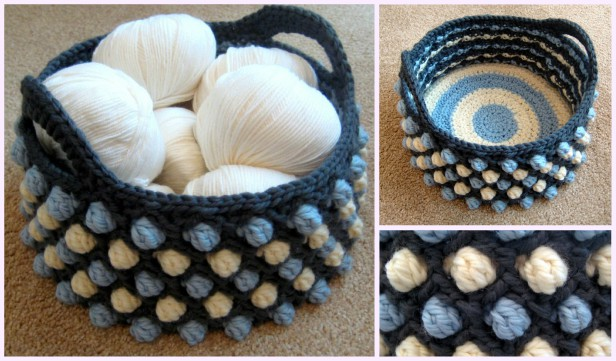 Crochet Bobble Basket Free Patterns -Honeycomb Pop Basket Free Crochet Pattern