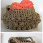 Crochet Bobble Basket Free Patterns -JUTE BOBBLE BASKET Free Crochet Pattern