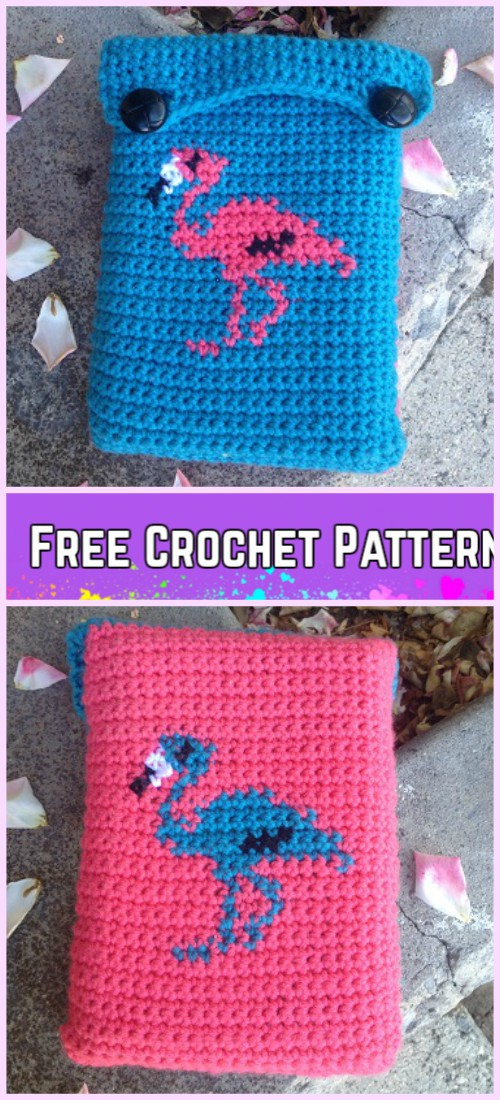 Crochet Book Bag Free Patterns - Crochet Flamingo Book Sleeve Free Pattern