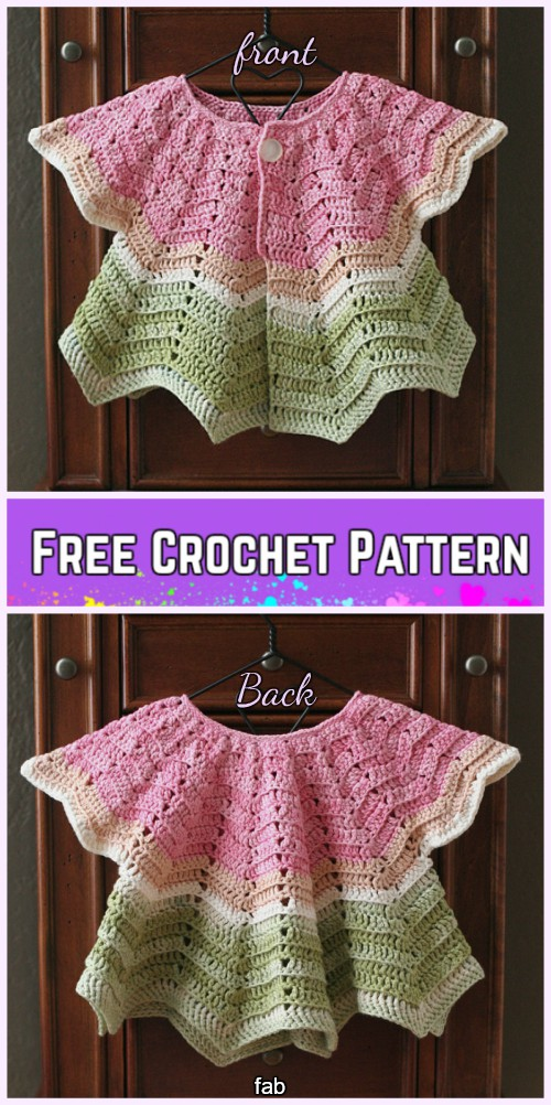 Crochet Chevron Baby Cardigan and Hat Set Free Pattern